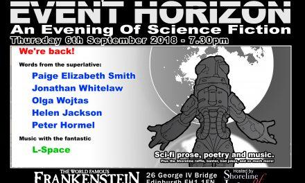 Shoreline of Infinity Event Horizon – Thursday 6th September 2018